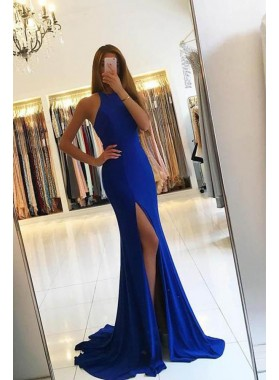 2020 Sexy Royal Blue Satin Side Slit Prom Dresses