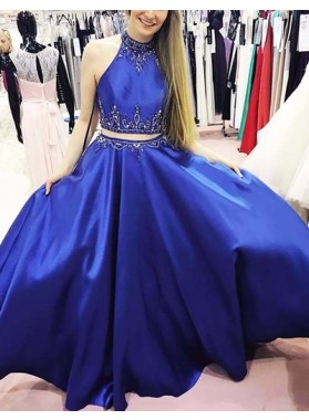 2019 Cheap Royal Blue Princess/A-Line Satin Two Pieces Prom Dresses