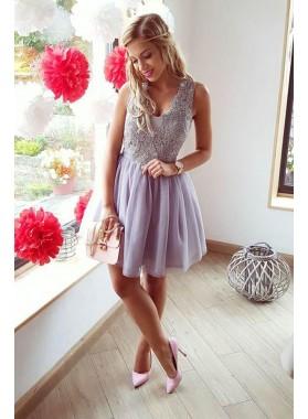 Princess/A-Line 2019 Cheap Chiffon Lavender Short Prom Dresses