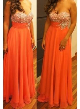 Beading Sweetheart A-Line/Princess Chiffon Orange Prom Dresses
