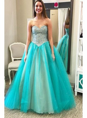 LadyPromDress 2018 Blue Prom Dresses Sweetheart Beading A-Line/Princess Tulle