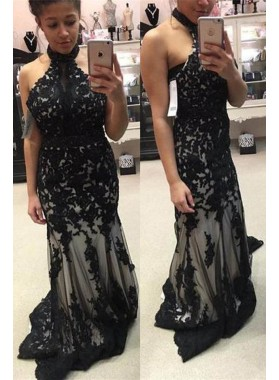 2019 Junoesque Black Floor-Length/Long Mermaid/Trumpet High Neck Lace Prom Dresses