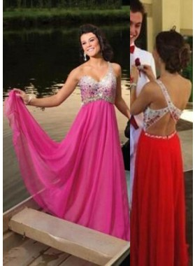 One Shoulder Floor-Length/Long A-Line/Princess Chiffon Prom Dresses