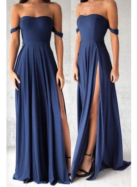 Navy Blue Off-the-Shoulder High-Slit A-Line/Princess Satin Prom Dresses