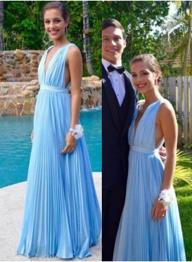 LadyPromDress 2019 Blue Floor-Length/Long Straps A-Line/Princess Chiffon Prom Dresses