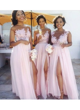 2020 Chiffon A Line Pink Side Slit Long Bridesmaid Dresses With Appliques