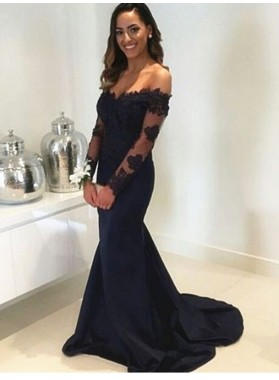 2021 Sexy Back Long Sleeves Satin Mermaid/Trumpet Sweetheart Prom Dresses