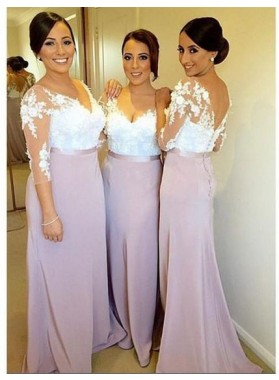 2021 Newly Sheath Lilac Lace Long Sleeves Long Bridesmaid Dresses