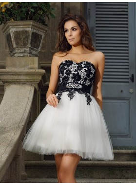 A-Line Princess Sweetheart Applique Sleeveless Short Tulle Homecoming Dresses