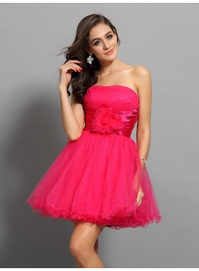 A-Line Princess Sweetheart Sash Sleeveless Short Elastic Woven Satin Homecoming Dresses