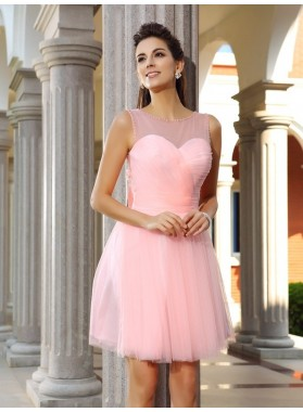A-Line Princess Scoop Beading Sleeveless Short Satin Homecoming Dresses
