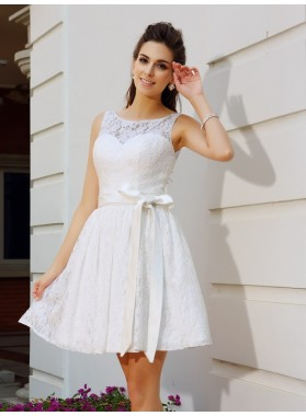 A-Line Princess Scoop Sash Sleeveless Short Lace Homecoming Dresses