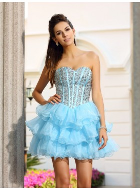 A-Line Princess Sweetheart Beading Sleeveless Short Organza Homecoming Dresses