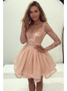 Short Long Sleeves Blushing Pink Knee Length Prom Dresses