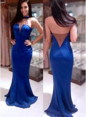 LadyPromDress 2019 Blue Beading Halter Mermaid/Trumpet Stretch Satin Prom Dresses