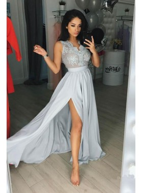 2021 Charming Princess/A-Line Chiffon Light Skye Blue Chiffon Prom Dresses