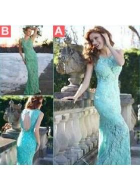 LadyPromDress 2019 Blue Illusion Keyhole Back Column/Sheath Lace Prom Dresses