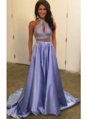 2021 Siren Princess/A-Line Satin Two Pieces Blue Prom Dresses