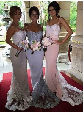 2020 Charming Mermaid Lace Long Train Pearl Pink Spaghetti straps Bridesmaid Dresses / Gowns