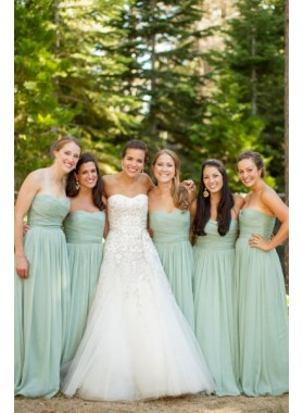 Cheap A Line Chiffon Mint Green Bridesmaid Dresses