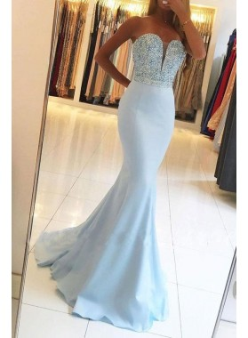 2021 Sexy Light Sky Blue Mermaid/Trumpet Sweetheart Beaded Satin Prom Dresses