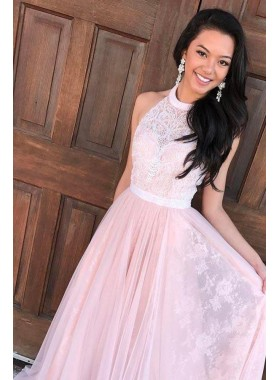 2021 Cheap Pink Princess/A-Line Tulle Lace Backless Prom Dresses
