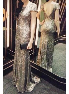 Short Sleeves Column/Sheath Sequined Prom Dresses