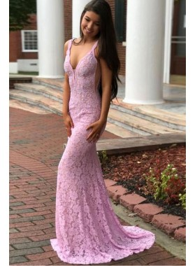 2019 Sexy Pink Mermaid/Trumpet Lace Prom Dresses