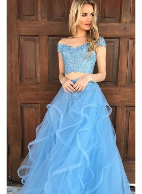 2020 Siren Princess/A-Line Two Pieces Tulle Prom Dresses