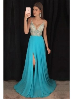2020 Cheap Princess/A-Line Chiffon Sweetheart Side Slit Prom Dresses