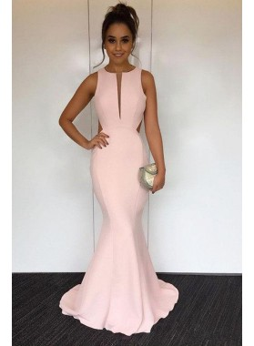Blushing Pink Mermaid/Trumpet Satin Prom Dresses