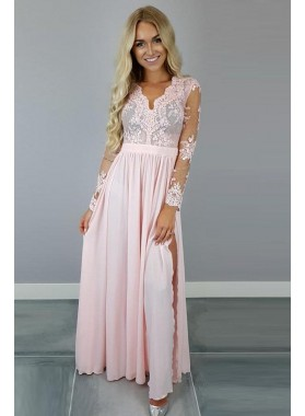 Princess/A-Line Chiffon Pink Long Sleeves Prom Dresses