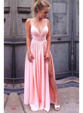 2021 Siren Princess/A-Line Satin Sweetheart Side Slit Pink Prom Dresses