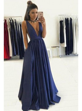 2020 Siren Deep V-neck Satin Backless Prom Dresses
