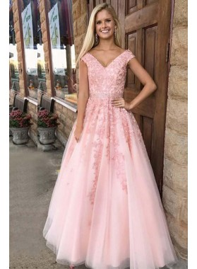 Pink Princess/A-Line Tulle Prom Dresses With Appliques