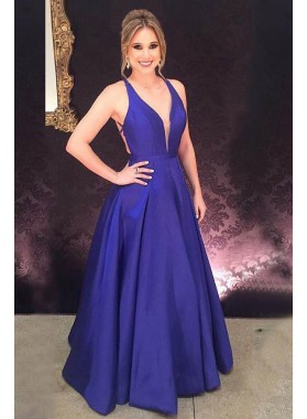 2021 Cheap Satin Royal Blue Princess/A-Line Prom Dresses