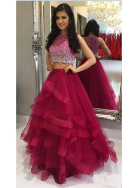Princess/A-Line Tulle Two Pieces Ruffles Burgundy Prom Dresses
