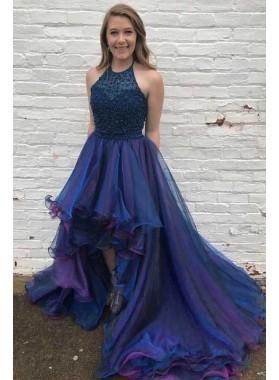 Designer Princess/A-Line Navy Blue Asymmetric Short Prom Dresses