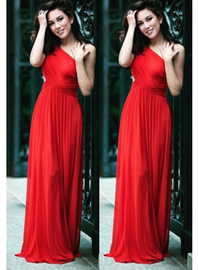 2019 Gorgeous Red One Shoulder Pleats A-Line/Princess Stretch Satin Prom Dresses
