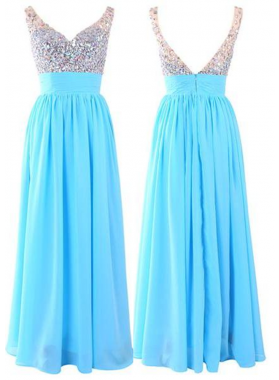 LadyPromDress 2019 Blue Beading Floor-Length/Long V-Neck Chiffon Prom Dresses