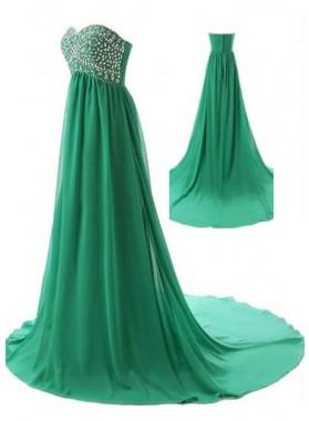 Beading Sweetheart Chiffon Prom Dresses