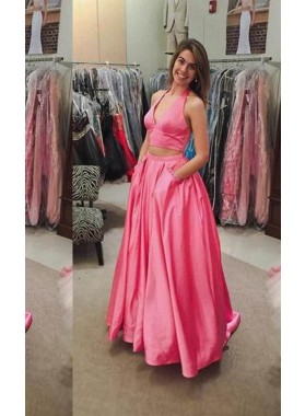 Halter A-Line/Princess Satin Two Pieces Prom Dresses 2019 Glamorous Pink