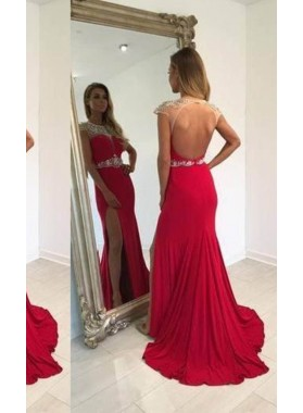 2019 Gorgeous Red Beading High-Slit Sweep Train Chiffon Prom Dresses