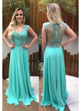 Beading V-Neck A-Line/Princess Chiffon Prom Dresses LadyPromDress 2018 Blue