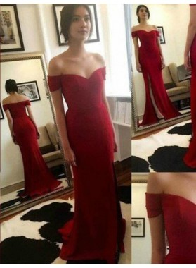 Burgundy Off-the-Shoulder High-Slit Trumpet Satin Prom Dresses