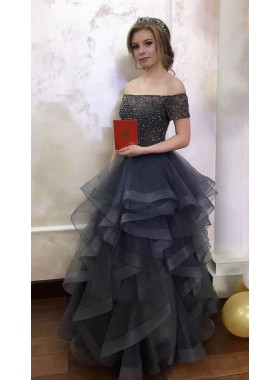 2019 Charming Grey Tulle Tiers Off The Shoulder Prom Dresses