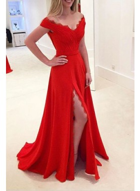 2019 Elegant Princess/A-Line Red Side Slit Chiffon Off The Shoulder Prom Dresses