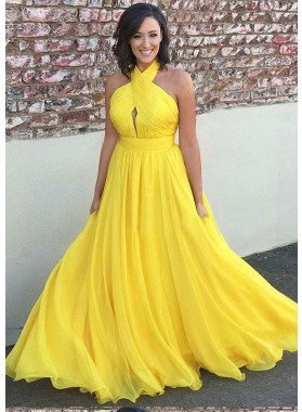 2021 Cheap Chiffon Princess/A-Line Daffodil Backless Halter Prom Dresses