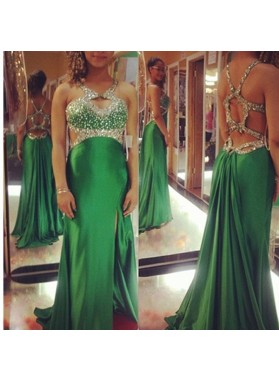 Beading Split Front Column/Sheath Satin Prom Dresses