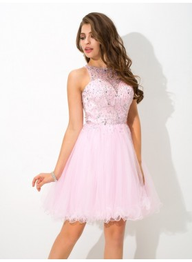 A-Line Princess Sheer Neck Beading Sleeveless Short Homecoming Dresses